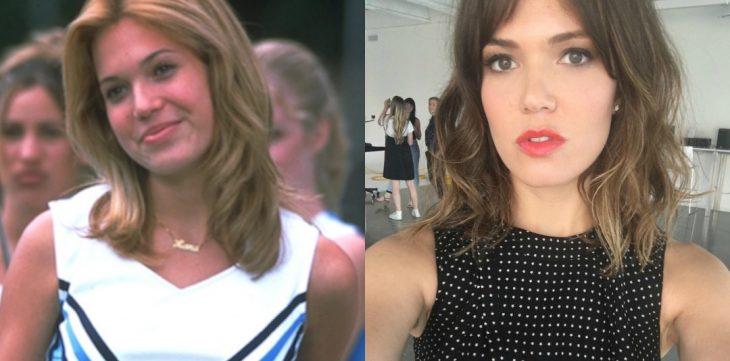 mujer rubia con traje de porrita antes y después