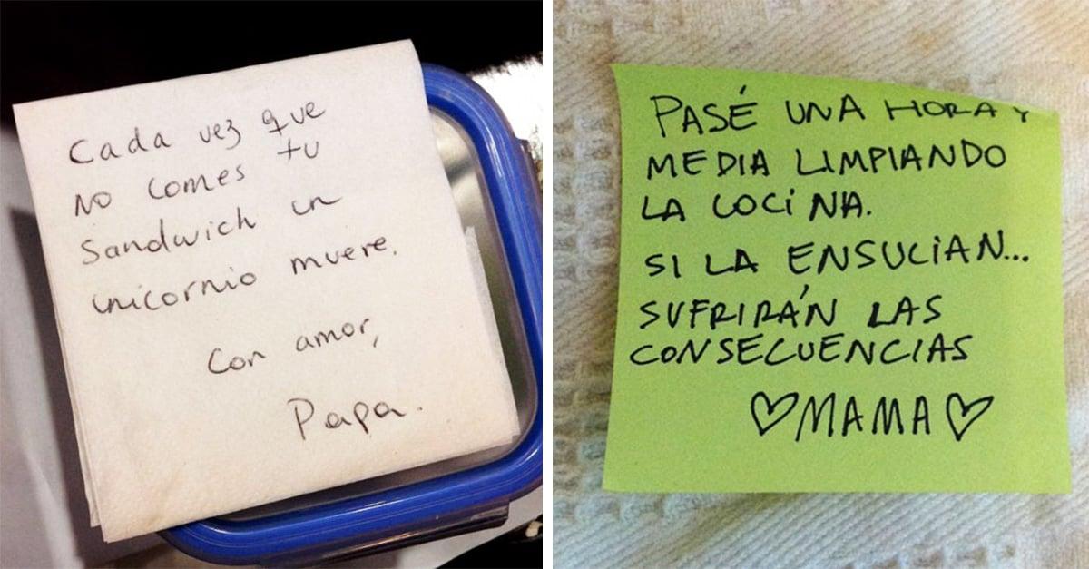 notas que demuestran que los padres son las personas más divertidas del mundo