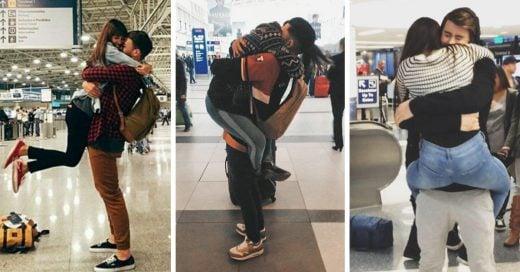 parejas se reencuentran en el aeropuerto y reafirman la fe del amor a larga distancia