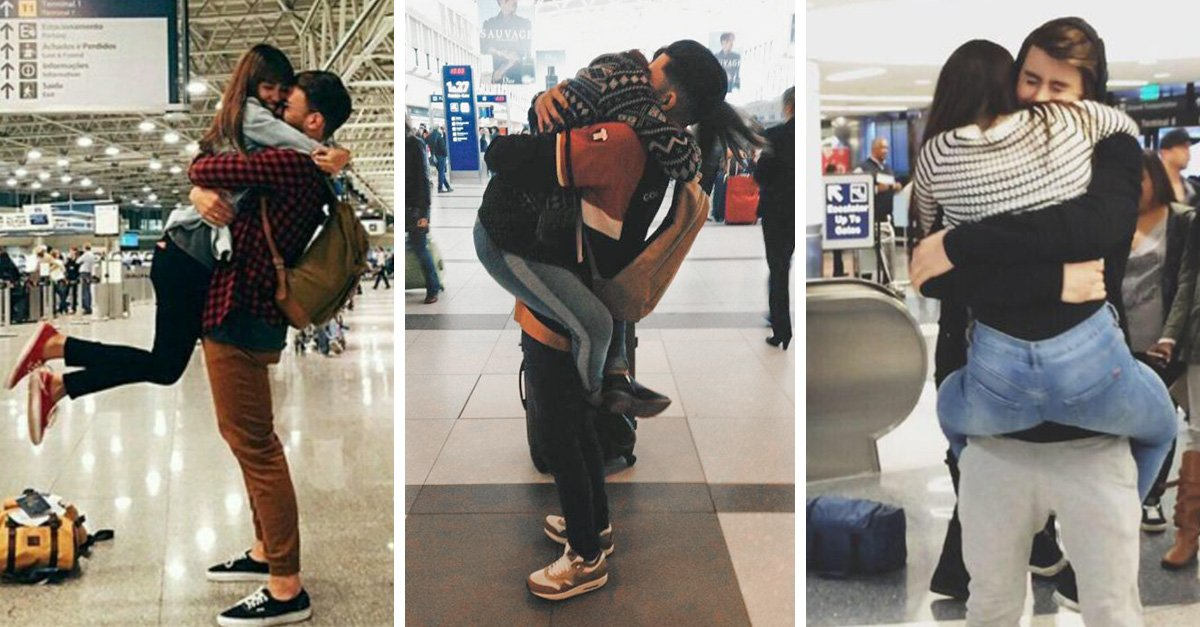 Parejas de enamorados que se reencuentran en el aeropuerto