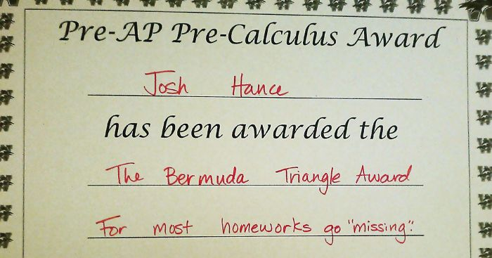 Diploma de un profesor a su alumno.