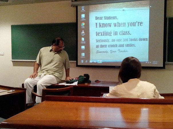 Mensaje de un profesor a sus alumnos.