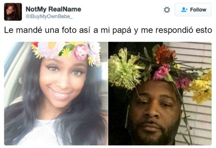 captura de pantalla de twitter mujer con flores en la cabeza