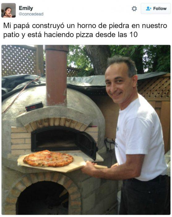 captura de pantalla de twitter hombre con pizza y horno