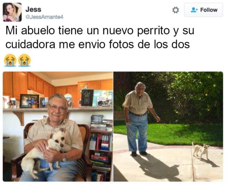 captura de pantalla de twitter hombre con cabra