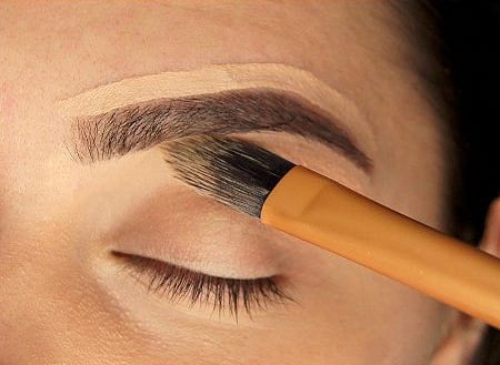Concealer on the contour of the eyebrows.