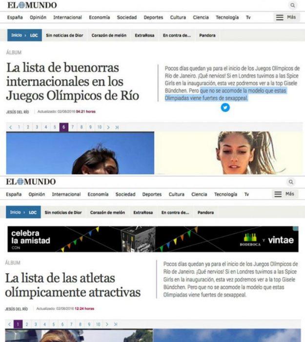 Pantalla del periódico digital El Mundo.