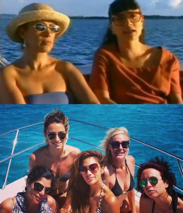 women sitting on a yacht