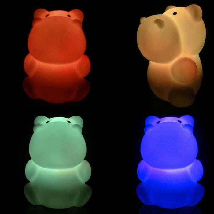luces de colores en formas hipopotamo