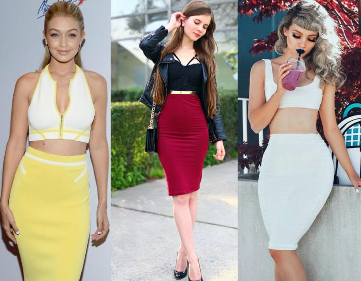 tres estilos de falda tipo lapiz
