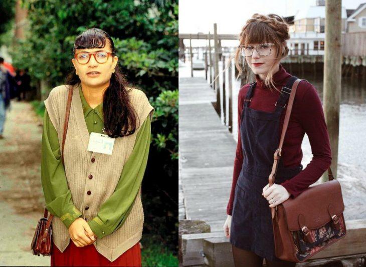 mujer con lentes y pequeño bolso café