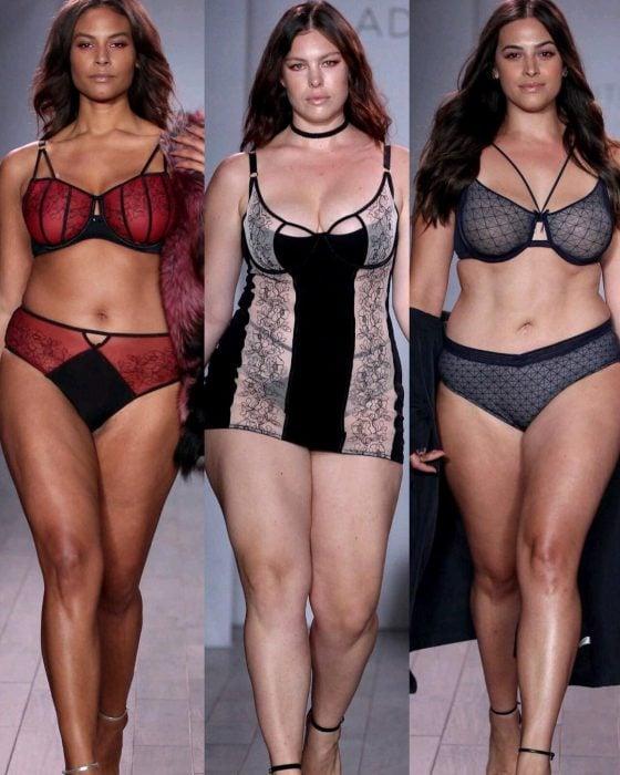 Modelos de tallas grandes en la Semana de Moda en Nueva York.