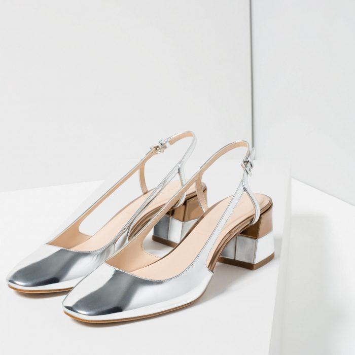 zapatos sin talón metálicos