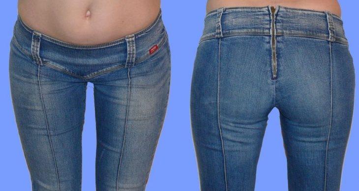 mujer con jeans y zipper por atrás