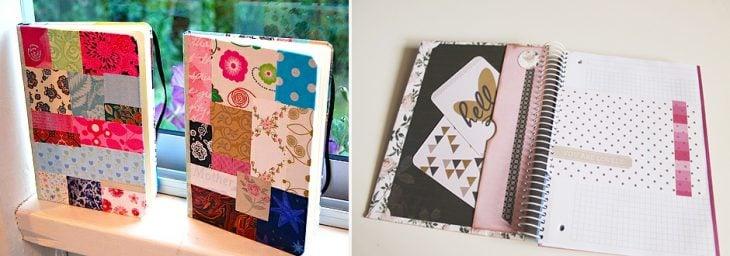 Libreta vintage con retazos de telas y papeles.