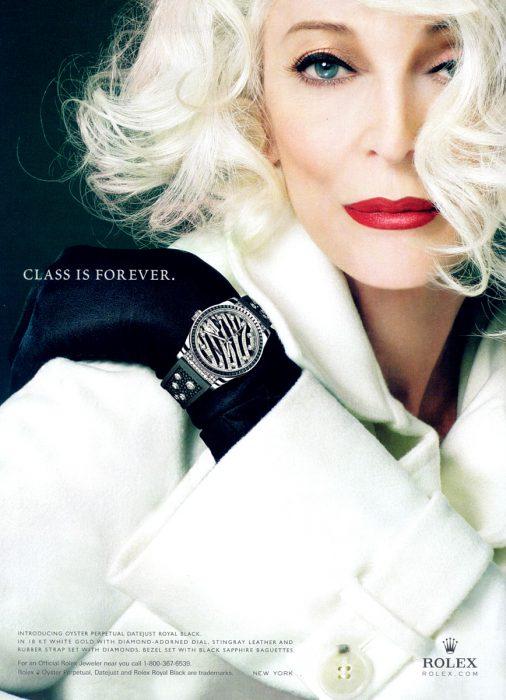 Carmen Dell'Orefice en una publicidad de Rolex.