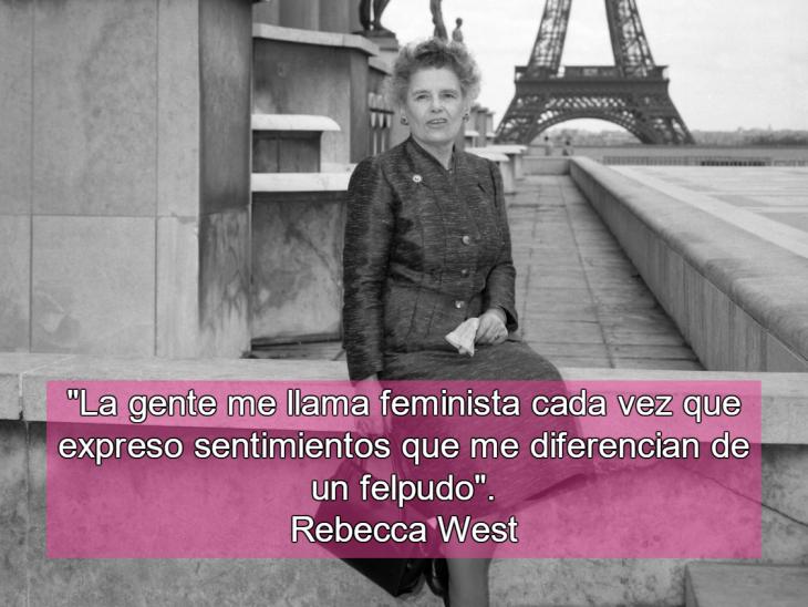 mujer sentada y torre eiffel atrás con frase feminista