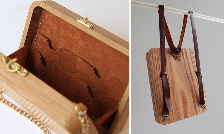 bolsos de madera colgados