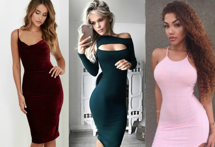 three styles of dress-fitting bodycon