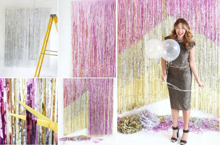 cortina de tiras metalicas rosas y doradas