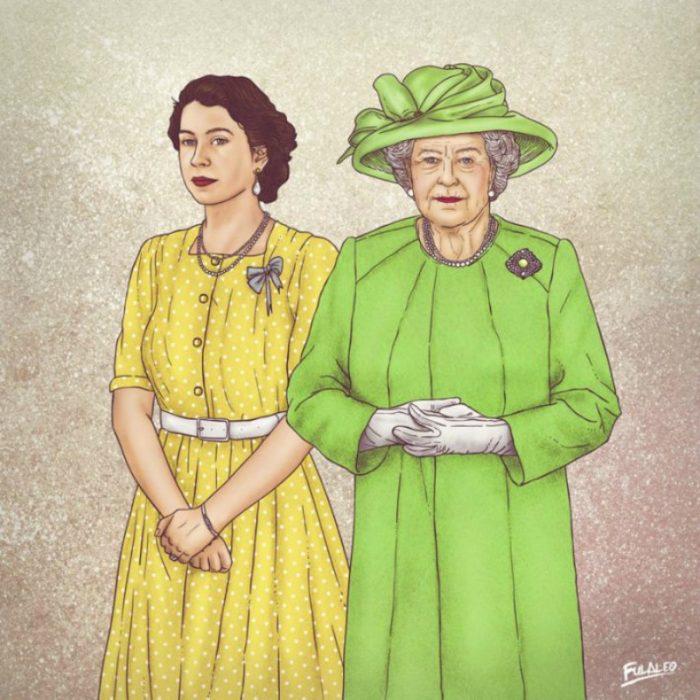 ilustración mujer con vestido verde y amarillo