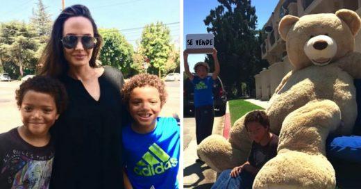 Estos pequeños hermanos vendían un oso gigante en la calle y ¡Angelina Jolie fue su compradora!