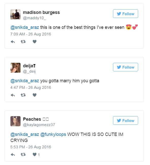 Mensajes de twitter ante las reacciones del regalo de un chico