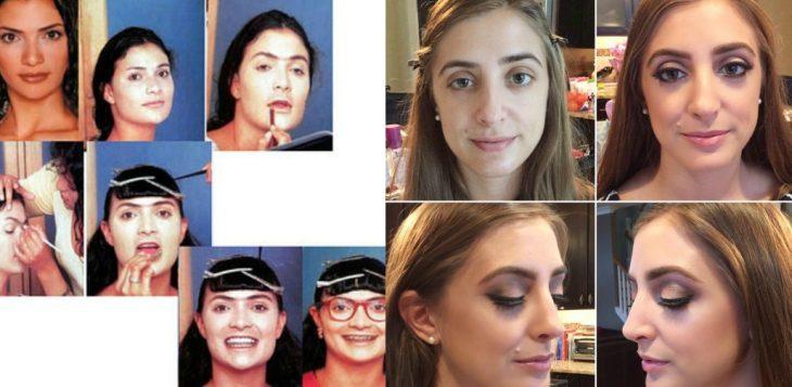 mujer desmaquillada en una transformación de belleza