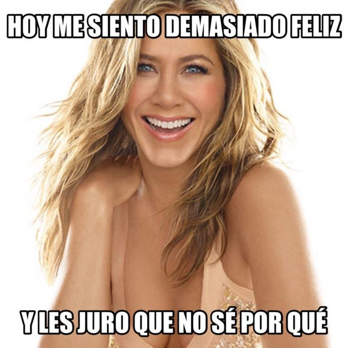 Happy blond woman smiling and meme