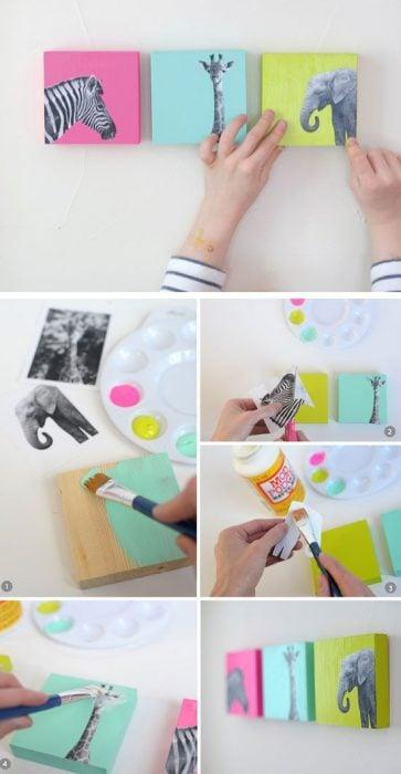 Cuadros de colores con animales pegados