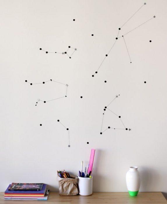 Constelaciones pintadas en una pared