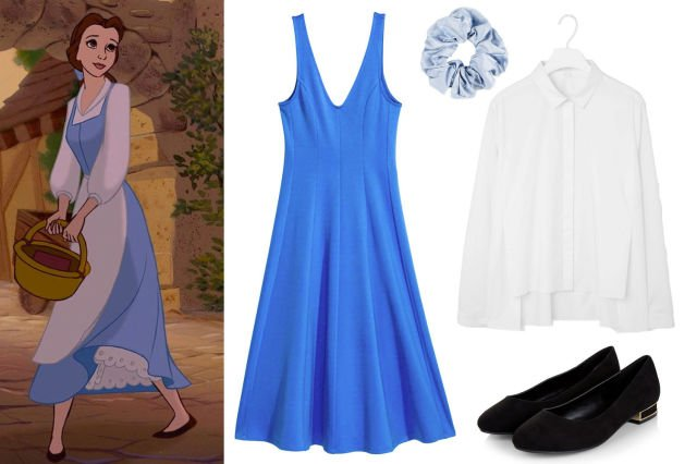Dress and white shirt for a costume inspired by beautiful