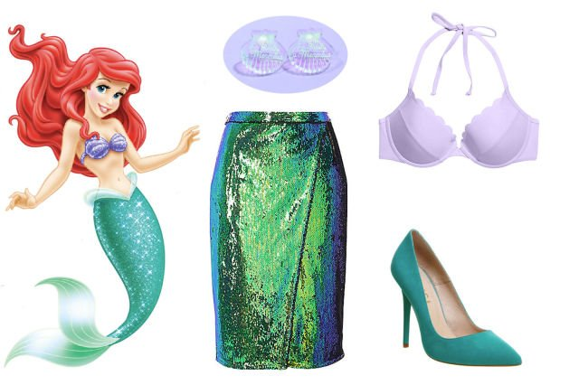 Skirt and bikini for a costume inspired by Ariel
