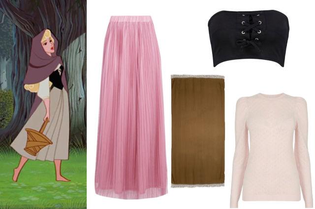 Falda y crop top inspirado en Aurora de la bella durmiente