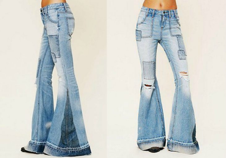 Flared jeans with pictures and