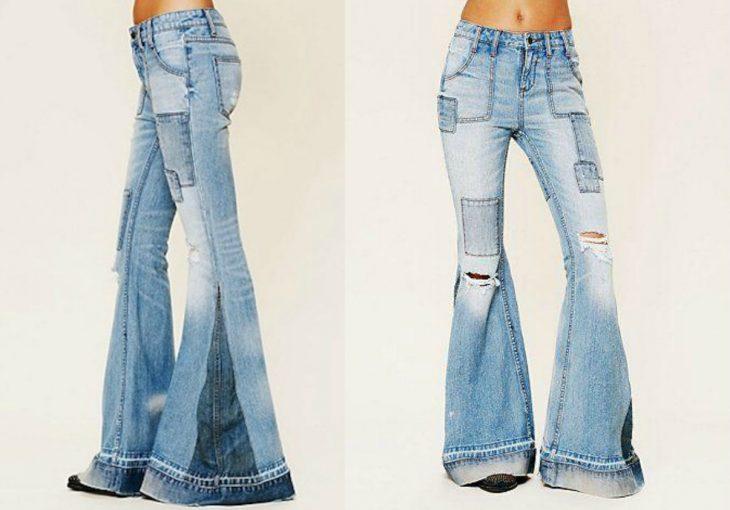 jeans con cuadros y acampanados