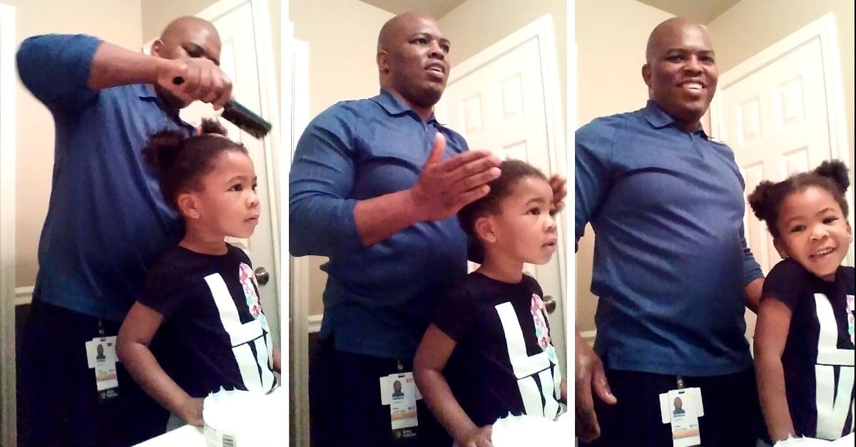 Esta pequeña sabe lo que significa motivar a un padre para que haga un buen trabajo con su peinado