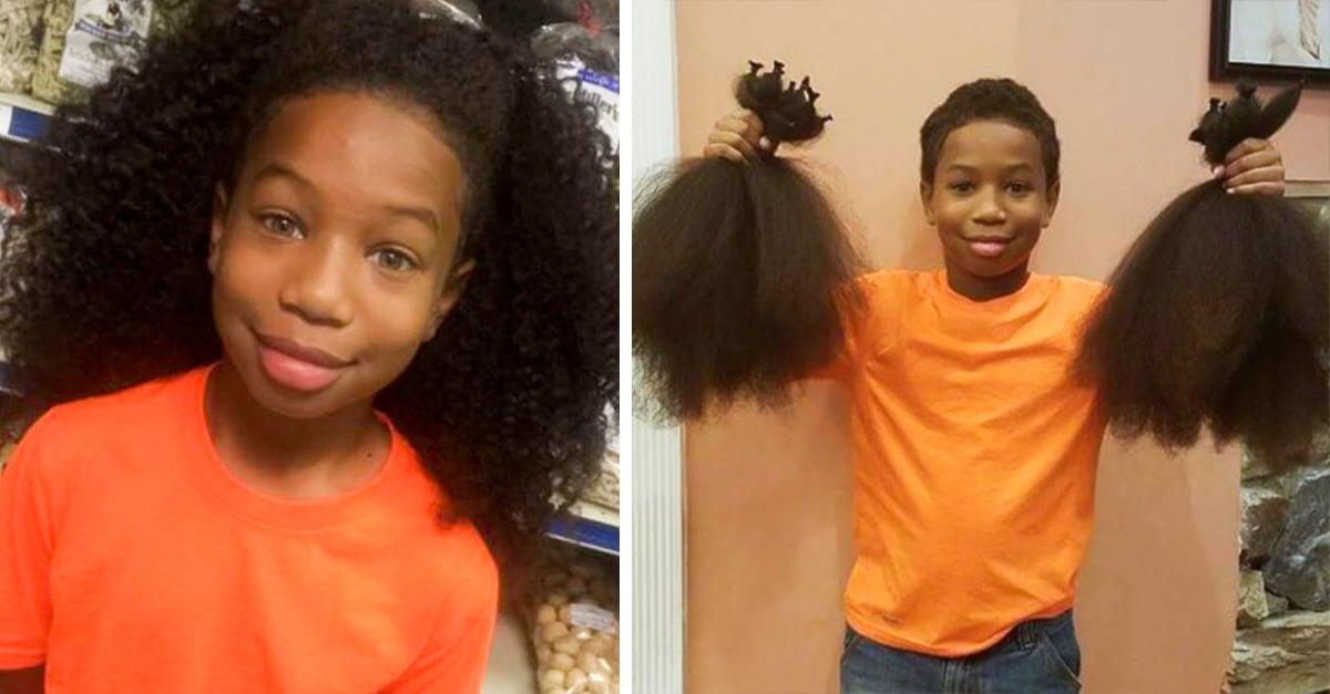 Este niño dejo crecer su cabello por tres años para donarlo a una niña con cáncer