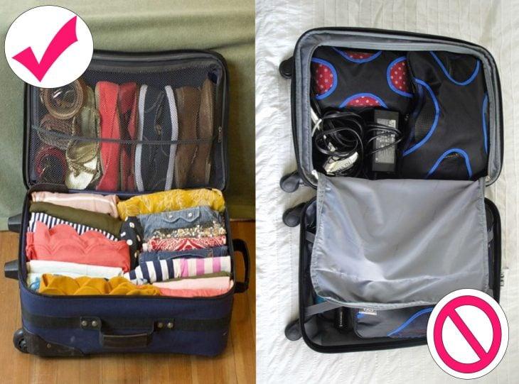 Maleta empacada solo con ropa necesaria