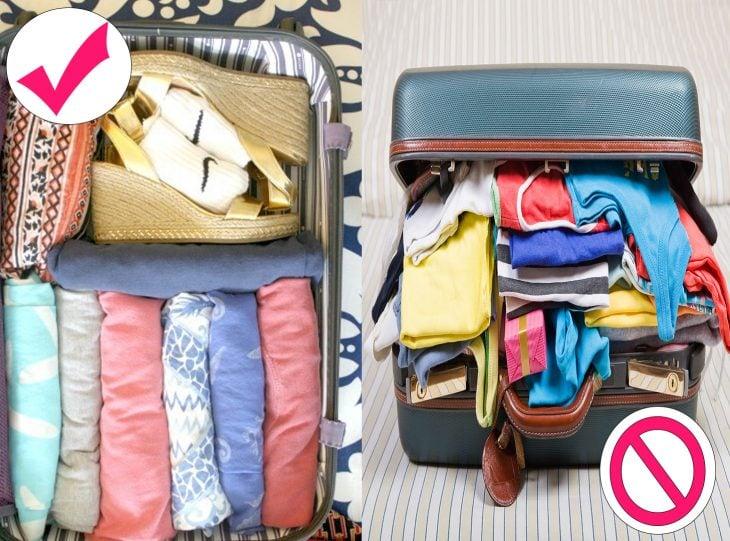 Forma correcta de empacar la ropa hecha rollo