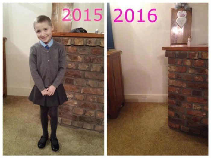 Foto de niña que sufria cáncer el día de la escuela en 2015 y después en 2016
