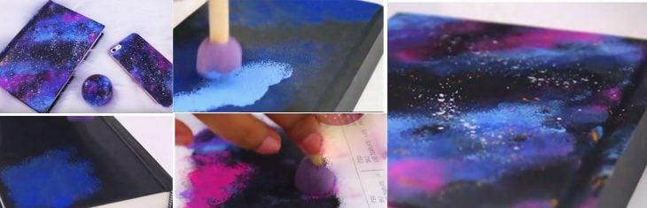 Libro decorado de la galaxia.