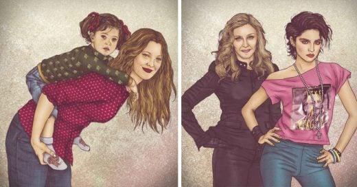 """Ilustraciones de mujeres iconos de la cultura pop junto a sus """"yo del pasado"""""""