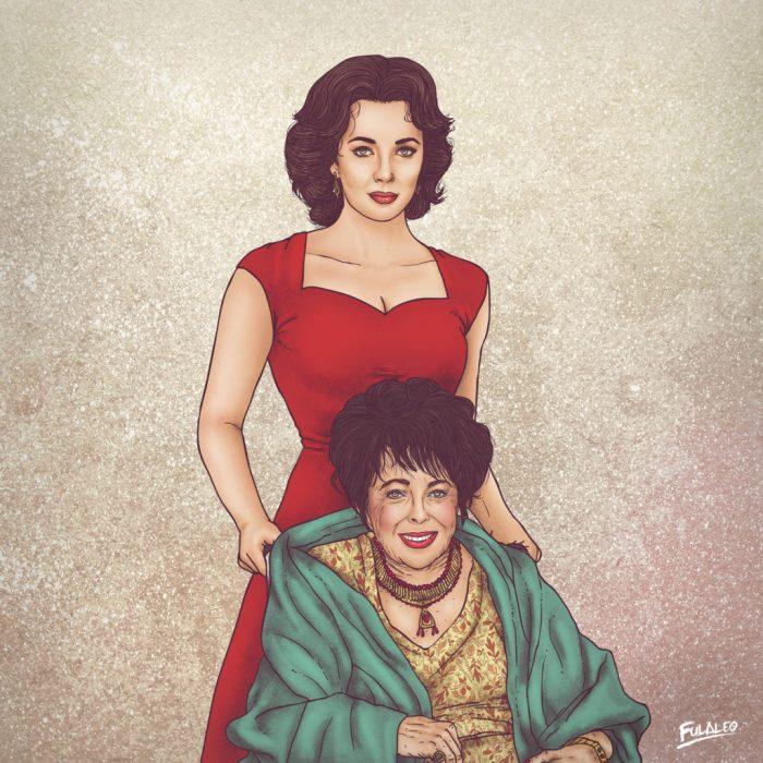 mujer blanca con cabello negro y vestido rojo