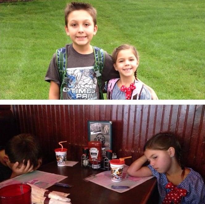 fotos niños antes y después primer día de clases