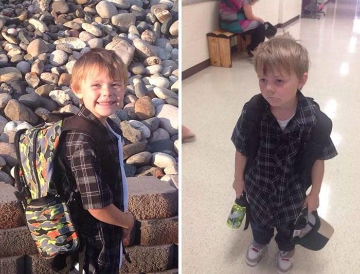 fotos niño antes y después primer día de clases