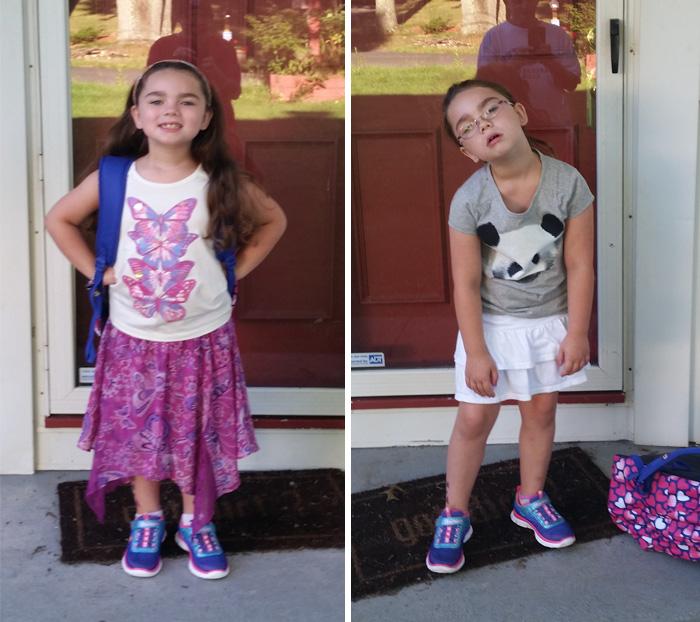 fotos niña antes y después primer día de clases