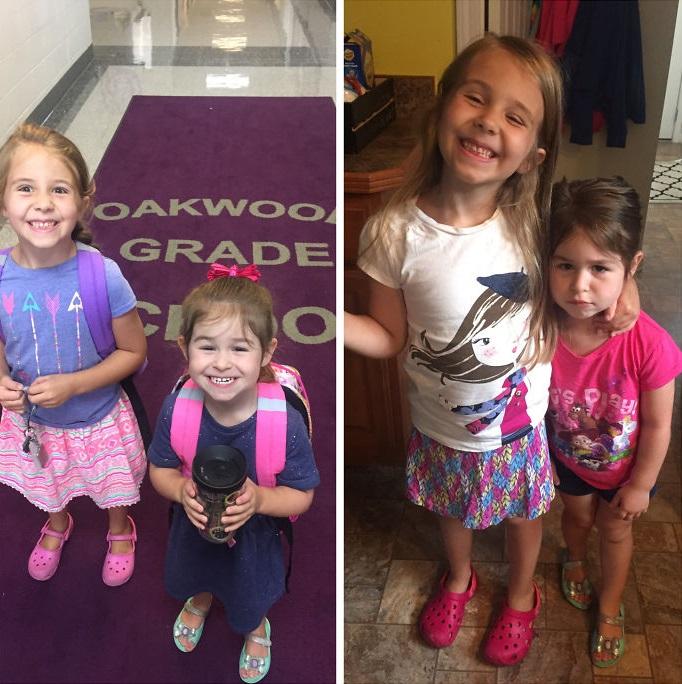 fotos niñas antes y después primer día de clases