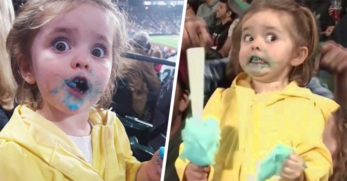Niña de 3 años prueba por primera vez el algodón de azúcar, su reacción es una verdadero agasajo