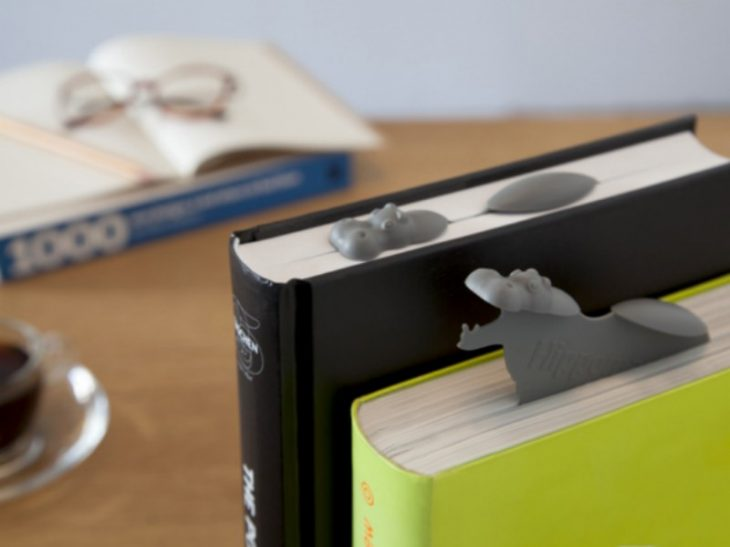 separadores de libros en forma de hipopotamo